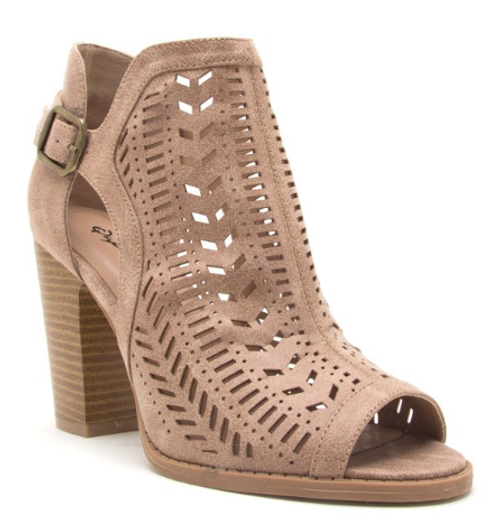 Laser Cut Bootie in Taupe