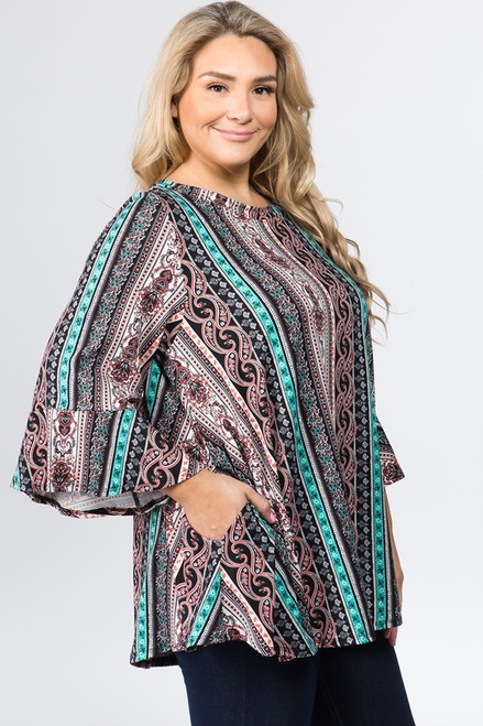 Multi Color PLUS Ruffle Sleeve Tunic with Pockets