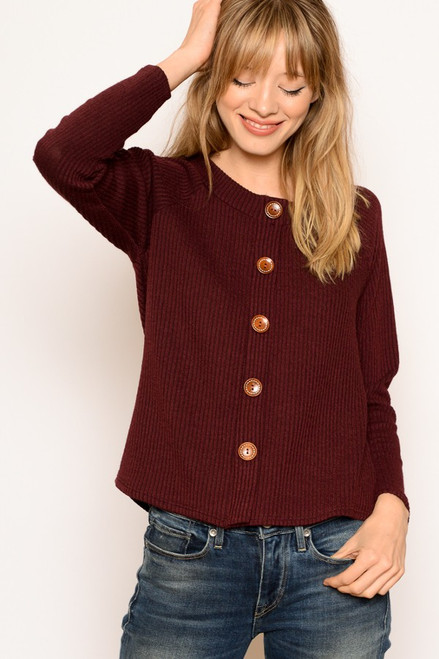 Burgundy Rib Knit Sweater with Button Closure