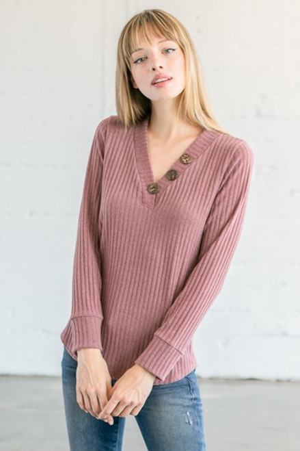 Mauve Rib Knit Sweater  with Buttons one side V-Neck