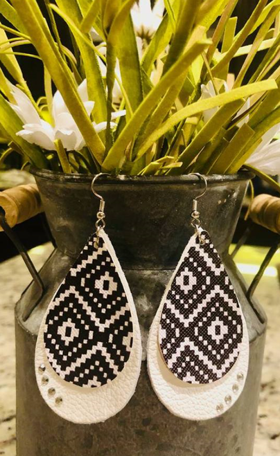 White Aztec Double Leather Earrings with Rhinestone Accents