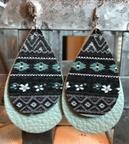 Mint/Black floral Pattern Double Layered Leather Earrings