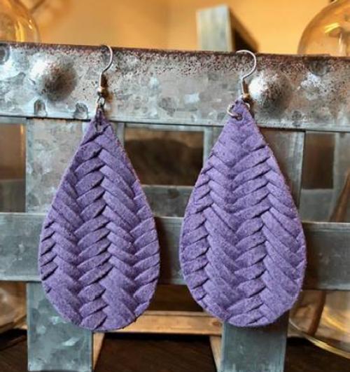 Purple Italian Braid Leather Earrings