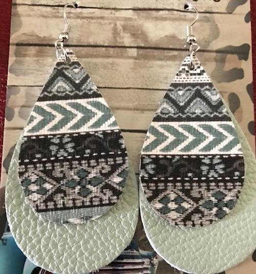 Tribal Print Mint Double Leather Earrings