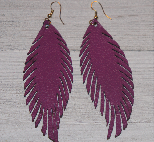 Magenta Feather Cut Leather Earrings