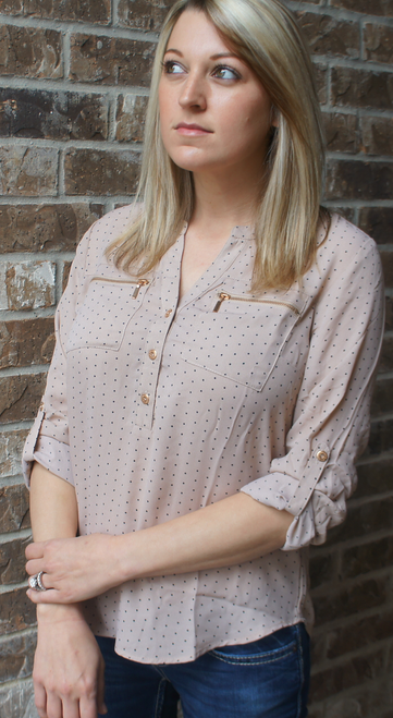 Taupe with Black Polka Dots Rolled Sleeve Top