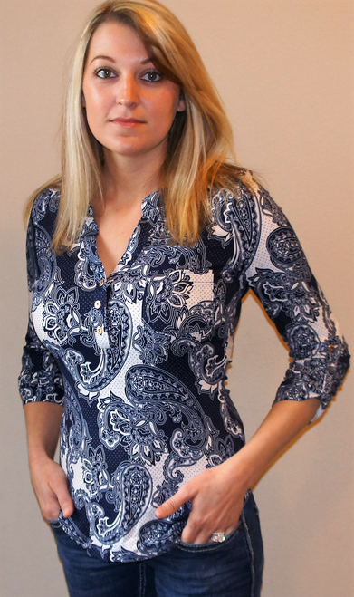 Navy Paisley Rolled Sleeve Top