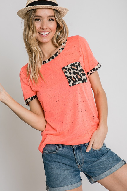 Coral Leopard Trim and Pocket Top