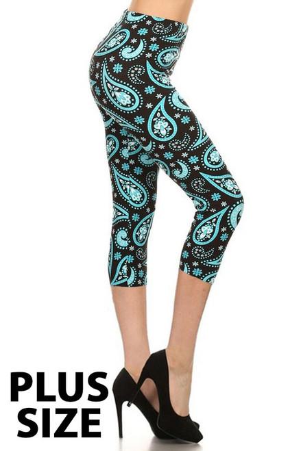 Aqua PLUS Size Paisley Print Capri Leggings