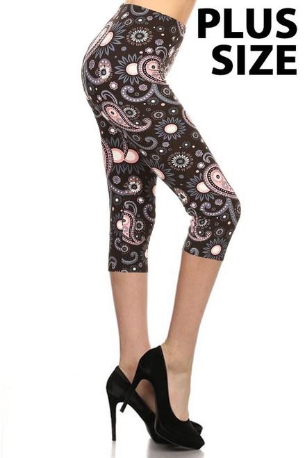 Pink PLUS Size Paisley Print Capri Leggings