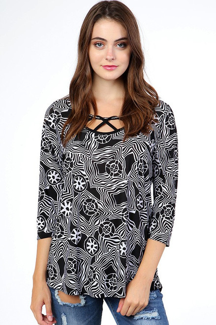 Black and White Tunic with Strappy Detail Neckline