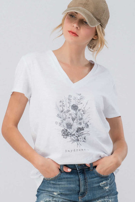 White V-Neck Daydreamer Floral Graphic Tee Shirt