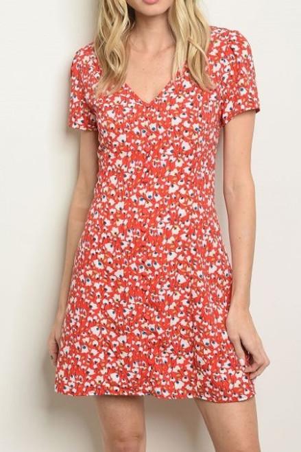 Red Floral Print V-Neck Dress