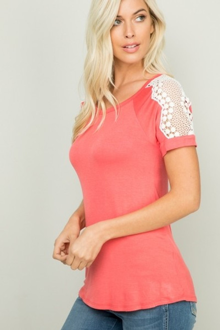 Short Sleeve Top with Lace Trim on Shoulder