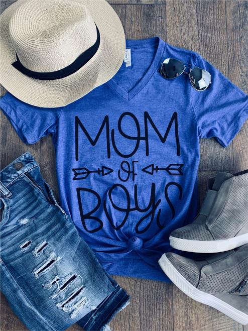 Royal Blue Mom of Boys V Neck Tee