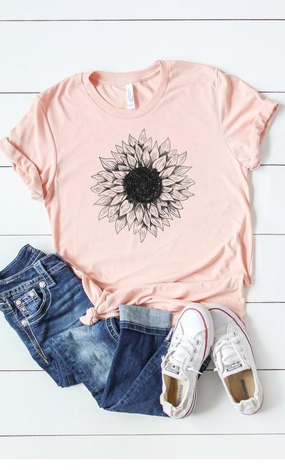 Peach Sunflower Graphic Tee
