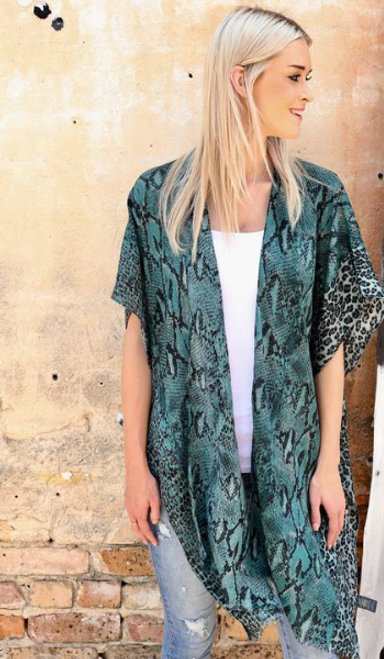 Teal Snake and Leopard Print Kimono