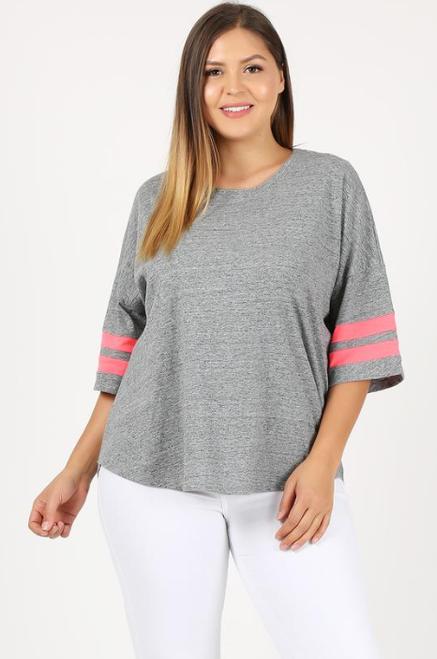 Gray Plus Top Neon Trim on Sleeves