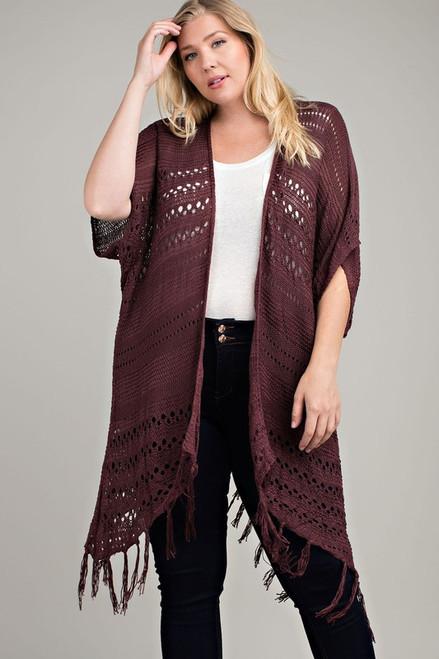 Burgundy Crochet Lace Fringed Plus Cardigan