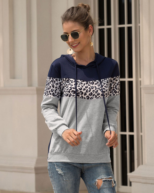 Navy/Leopard Gray Hooded Shirt