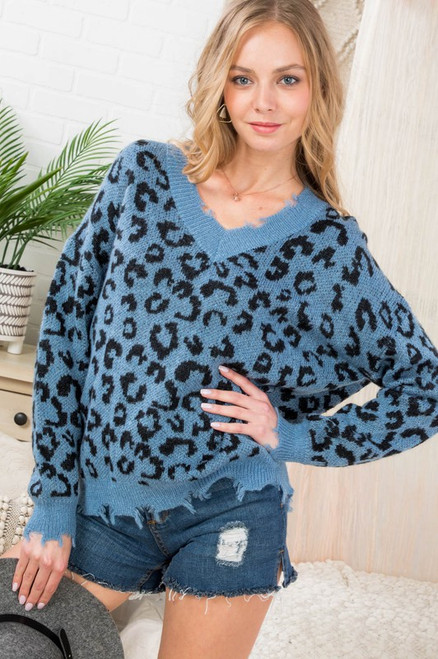 Frayed V Neck Sweater in Blue Shadow