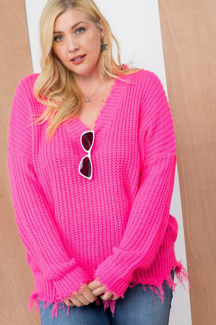 Neon Pink V Neck Frayed Plus Sweater