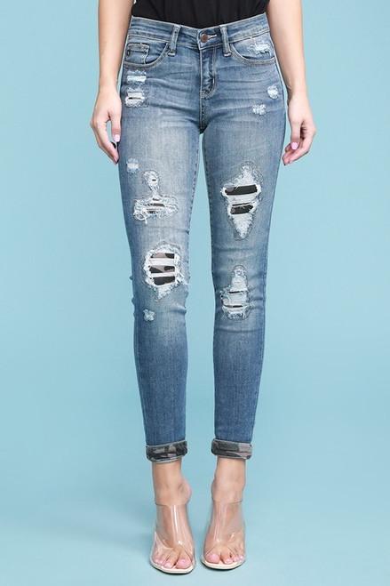 Judy Blue Camo Patch Plus Jean with Cuffs