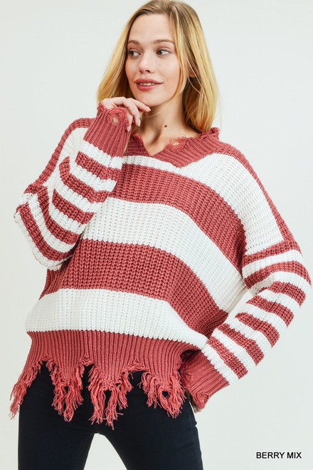 Chunky Knit Frayed Sweater in Berry/White Stripes