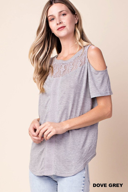 Lucille Lace Cold Shoulder in Dove Grey