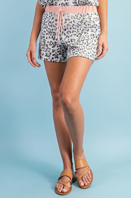 Leopard/Rose Drawstring Shorts