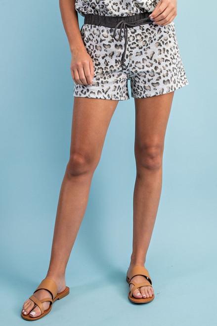 Leopard/Charcoal Drawstring Shorts