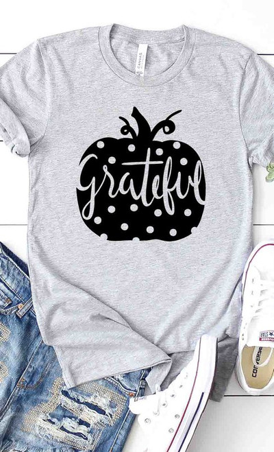 Grateful Polka Dot Pumpkin Tee in Heather Gray
