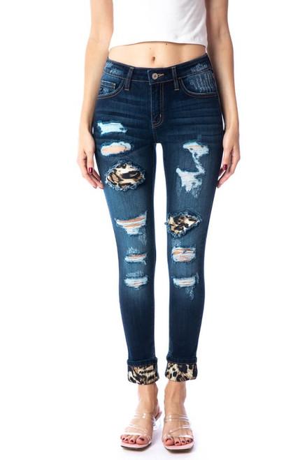 Dark Wash Kancan Leopard Patch and Cuff Jean