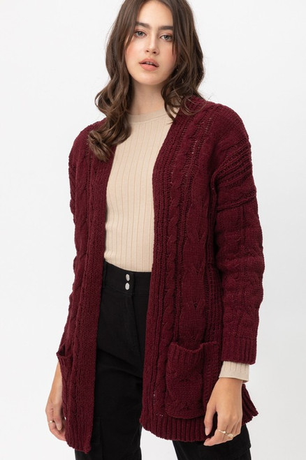 Wine Cable Knit Open Front Cardigan