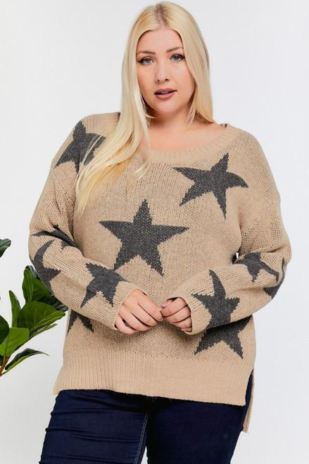 Taupe Star Print Plus Sweater
