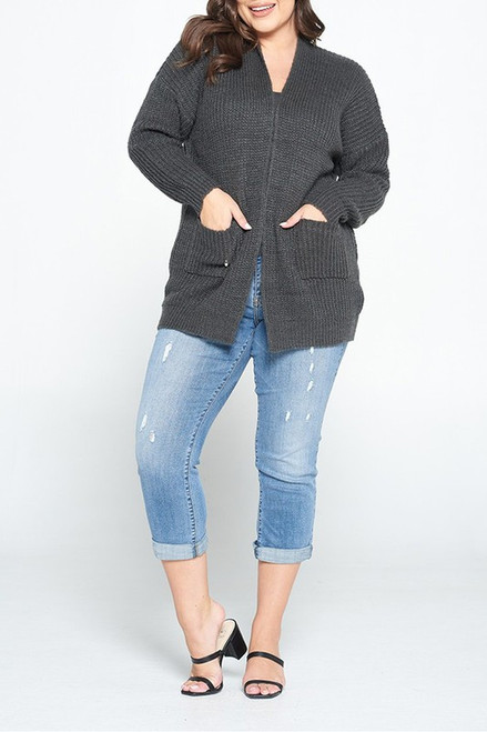 Charcoal Open Front Plus Sweater Cardigan