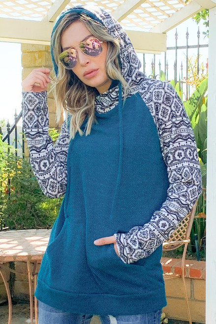 Teal Double Hoodie with Contrast Sleeves and Hood