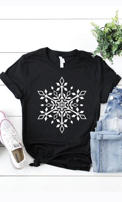 Black Snowflake Plus Tee