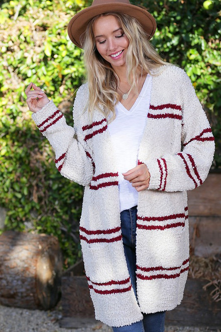 Ivory Wine Striped Open Front Cardigan