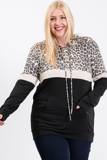 Leopard/Oatmeal/Black Plus Hoodie