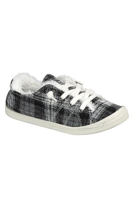 Black Plaid Fleece Lined Slip on Sneaker