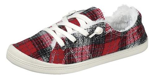 Red Plaid Fleece Lined Slip on Sneaker