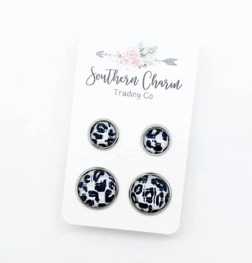 Faceted Mommy and Me Leopard Earring Set