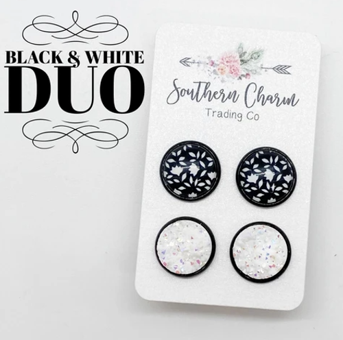 12mm Black/White Floral and White Earring Set