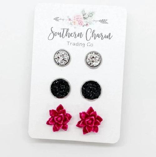Silver/Black/Hot Pink Succulent Earring Set