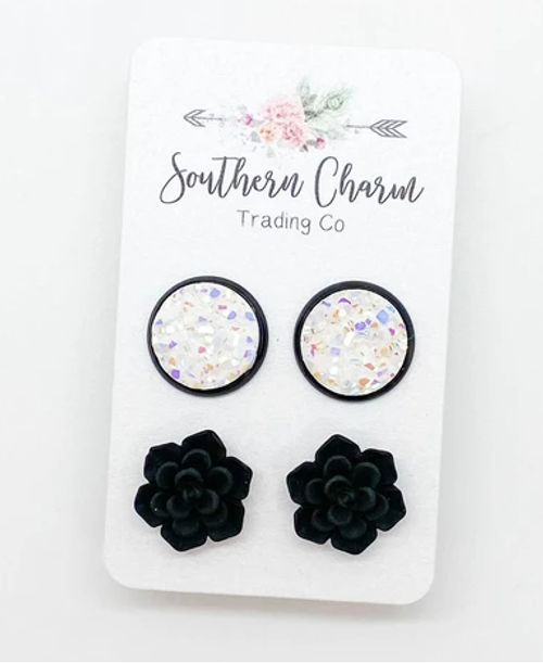 12mm White Sparkle and Black Succulent Earring Set