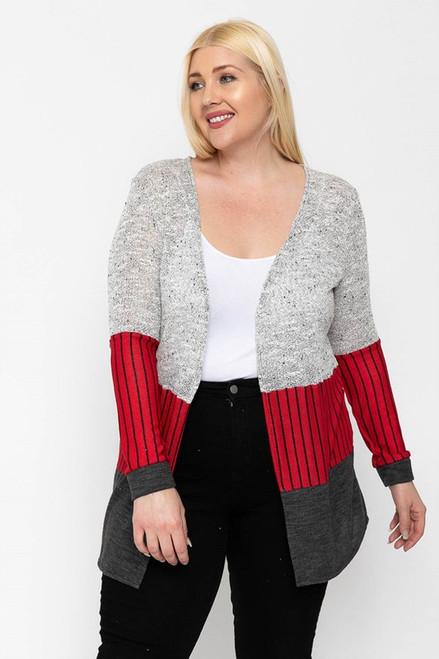Charcoal/Multi Color Block Lightweight Plus Cardigan