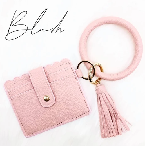Blush Tassel Keychain Card Holder