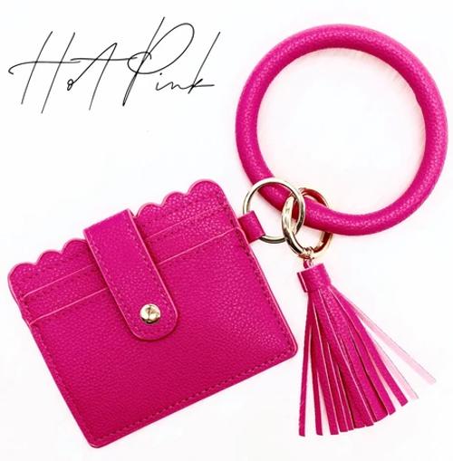 Hot Pink Tassel Keychain Card Holder