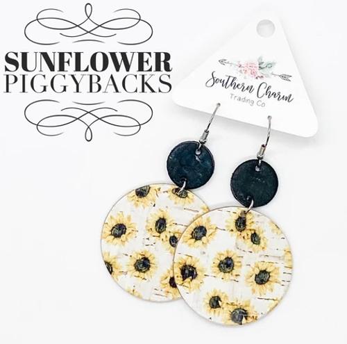 Black and White Sunflower Piggyback Corkies